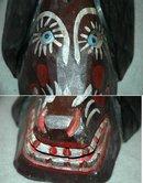 Guatemala Folk Art Guatemalan  Dog Mask Old Carved & Painted Wood Folk Art