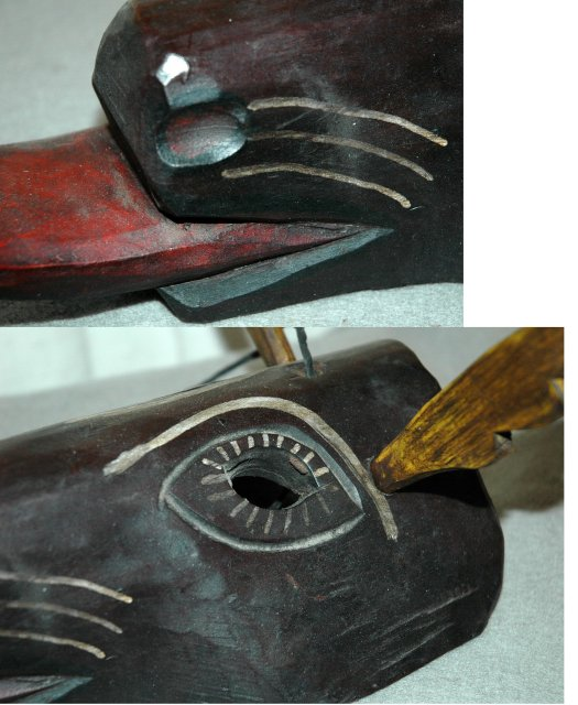 Guatemala Folk ART  Guatemalan Mask Deer with Antlers Old Carved & Painted Wood Folk Art