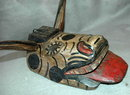 Guatemala Mask Guatemalan Toro  Mask Chichicastenango Old Carved Painted Wood Bull with Horns