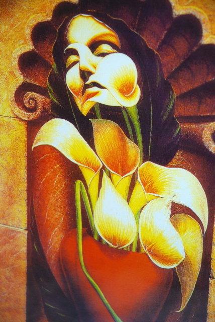 Octavio Ocampo Ecstasy of the Lilies Fine Art Print  Framed behind glass