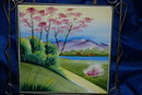 Cherry Blossom & Purple Mountain Framed Tile Trivet