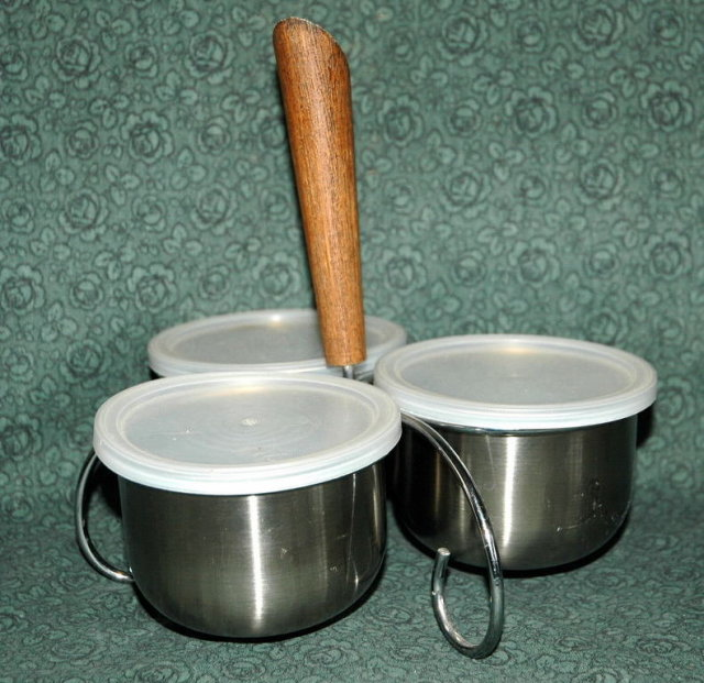 Danish Stainless Steel Condiment Caddy with Lids & Teak Handle