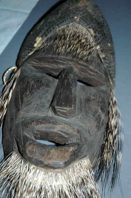 Mexian Carved Wood  & Quills Mask  Rare Antique   * PRICE REDUCDED * !