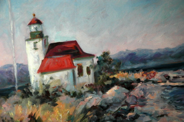 ORIGINAL Lighthouse Oil Painting, signed, MB Miller  framed 23