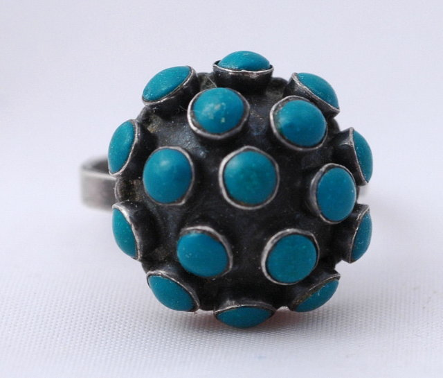 Old Taxco Mexico Sterling Turquoise Dome Ring