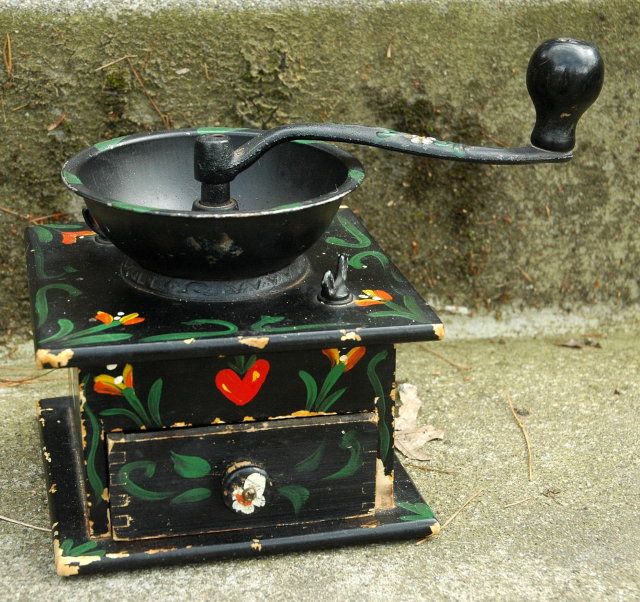 Coffee Grinder Vintage Tole Painted Wood & Iron  **PRICE REDUCTION**!