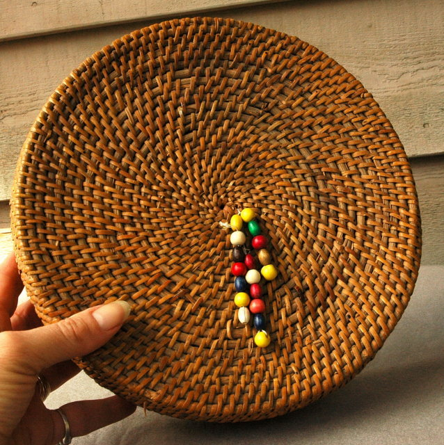 Coiled Grass Basket Wood Tassels Hand Made in Vietnam  *PRICE REDUCTION!*