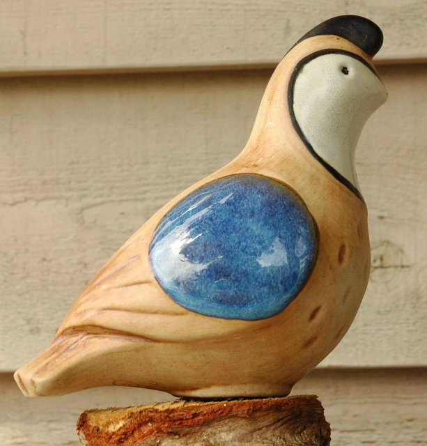 Pottery Quail Signed & Dated