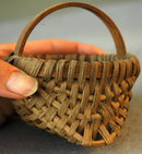 Miniature Splint Oak Buttocks Basket  Kentucky  Folk Art