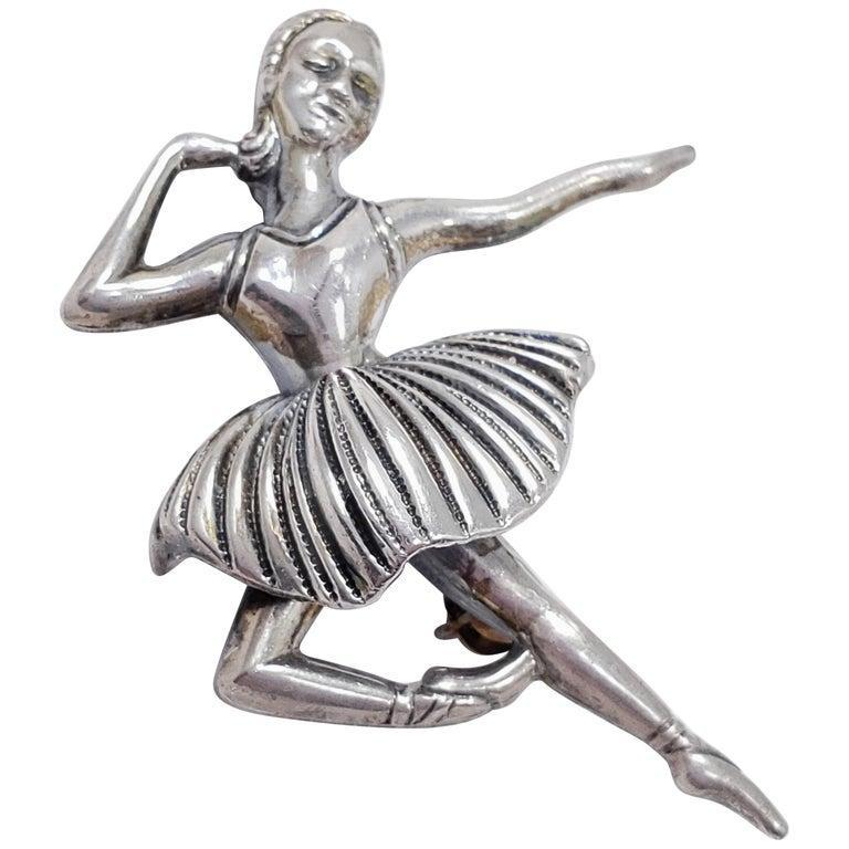*RARE* 1950's Beaucraft Sterling Dancing  Ballerina Brooch