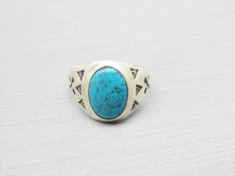 Native American Sterling Turquoise Signed Ring Size 8.5 Unisex  6.2 grams