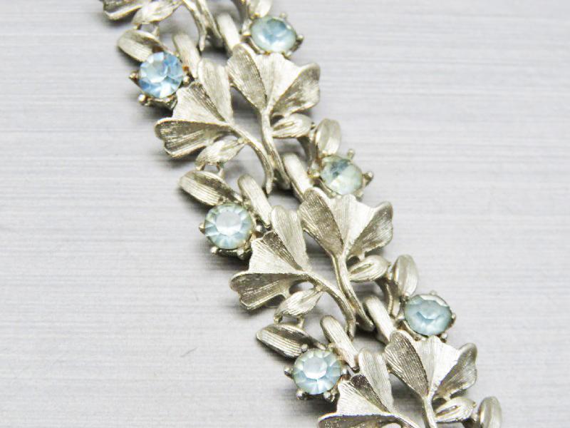 Coro Blue Crystal Rhinestones Silver  Bracelet with Vintage Pegasus Mark