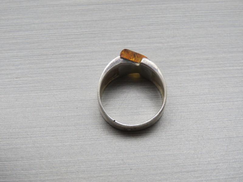 Modernist Arrow Like  Sterling Amber Ring