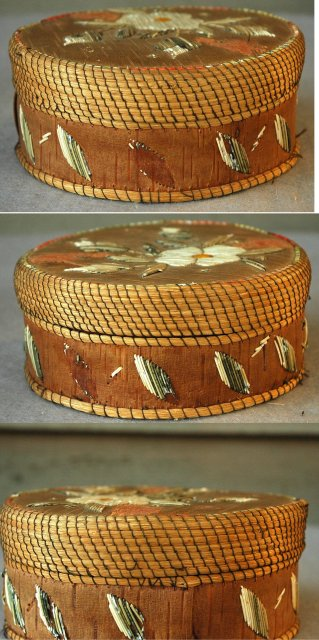 Great Lakes Region Porcupine Quill Birch Bark Basket Box  *** PRICE REDUCED!***