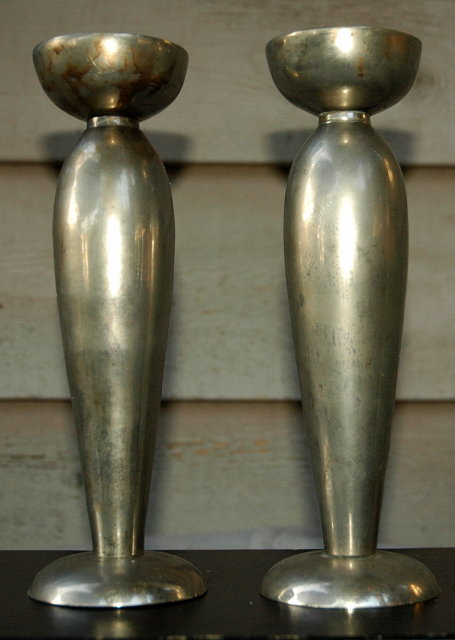 Nickle  over Bronze Candle Stick Holders  Matched Pair