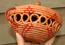 Native Eskimo  Coiled Open Work Basket with Lid