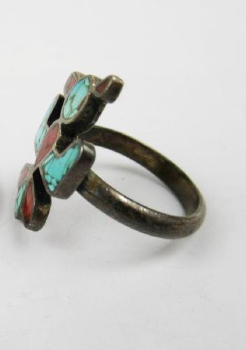 Navajo Sterling Turquoise Coral Thunderbird Ring, Spirit Bird Ring size 5