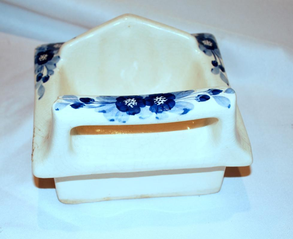 Antique Blue White Porcelain Wall Mount Soap Dish,  Old Country