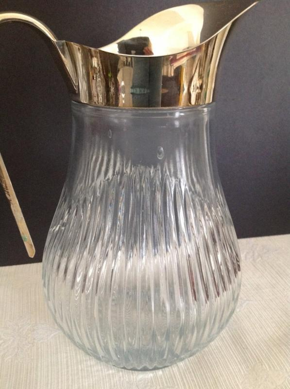 Vintage Italian Ribbed Glass Water or Ice Tea Pitcher with Silver Plated Handle , Spout with Ice Lip