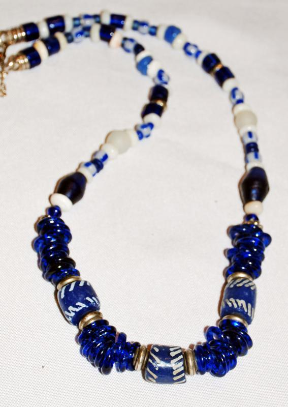 Tribal African Trade Bead Necklace, Cobalt Blue, White  Glass ,Shells and sliver , Handcrafted one of a kind.