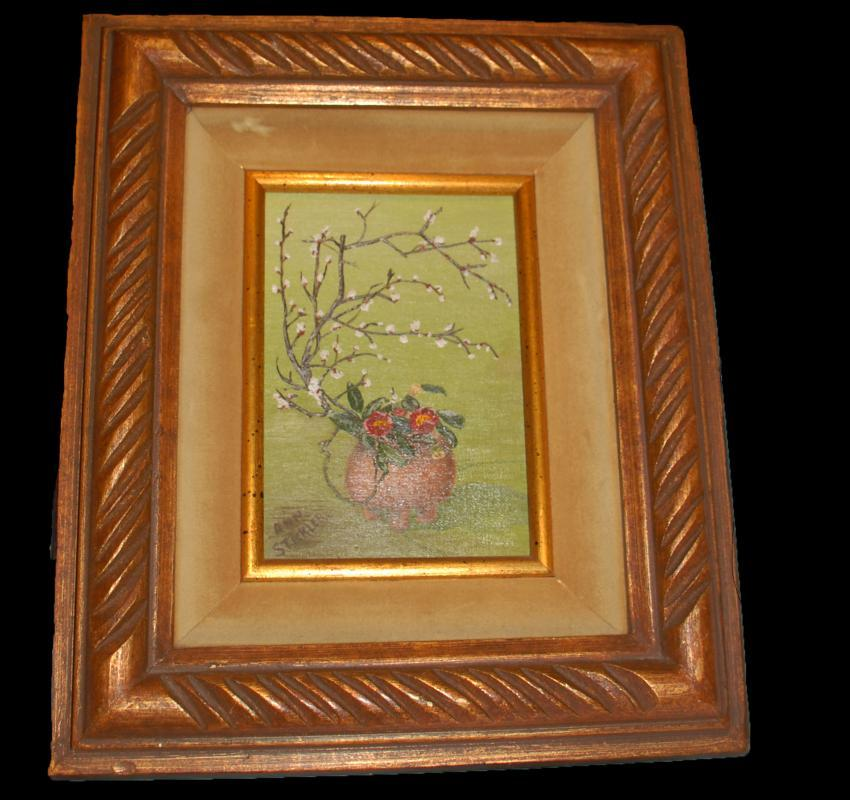 Signed Still Life  Oil Painting, White Plum and Pink Camellias Framed