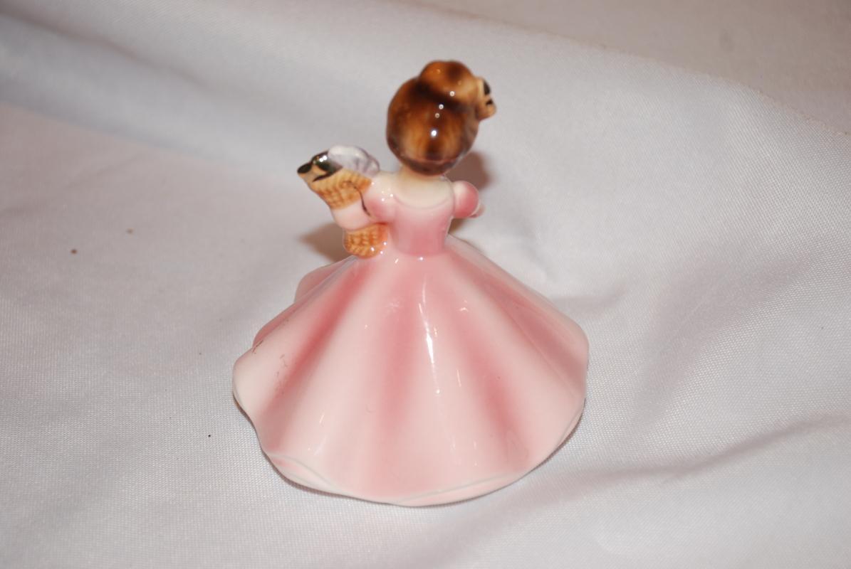 Vintage Josef Originals Girl in Pink Dress with Three Flowers with Rhinestones