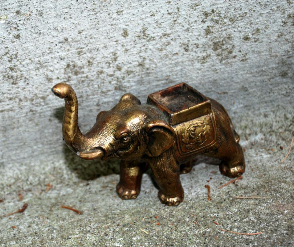 Old Bronze or Brass Elephant Incense Burner Marked Made in Japan