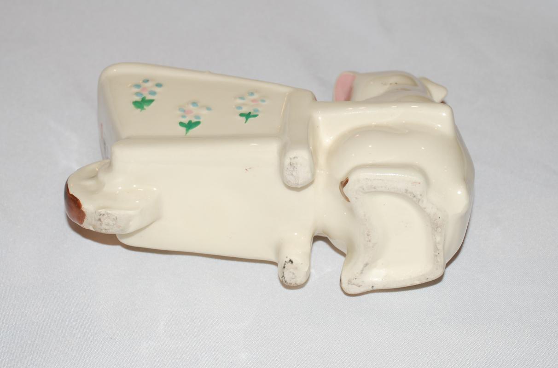 VINTAGE SHAWNEE POTTERY PIG AND WHEELBARROW PLANTER