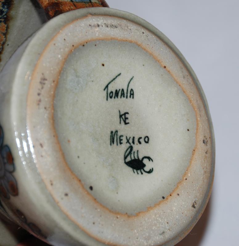VINTAGE KEN EDWARDS  MEXICO TONALA SQUAT PITCHER BIRDS FLORAL AND SNAIL  DESIGN