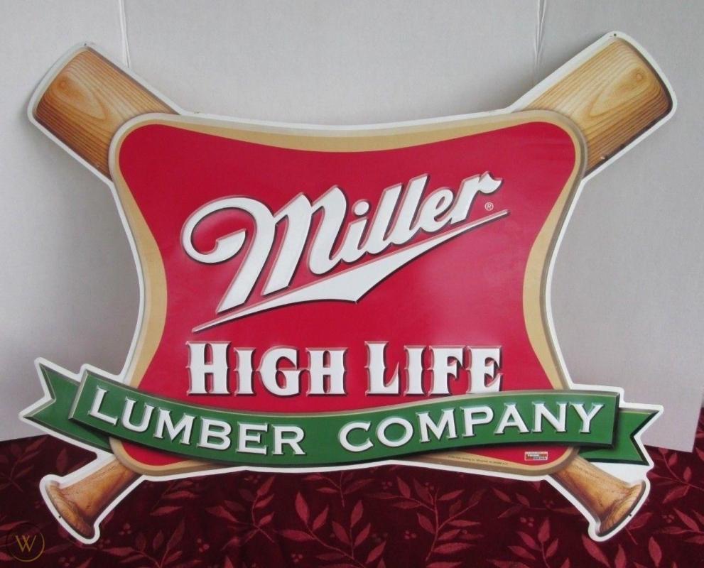 1999 MILLER HIGH-LIFE LUMBER COMPANY BASEBALL TIN BEER SIGN 30