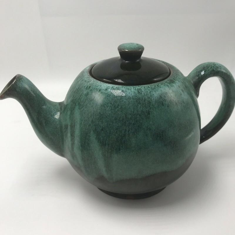 TEAPOT by EVANGELINE  #993 Brown   Seafoam Green Drip  Glaze CANADA single serve individual size