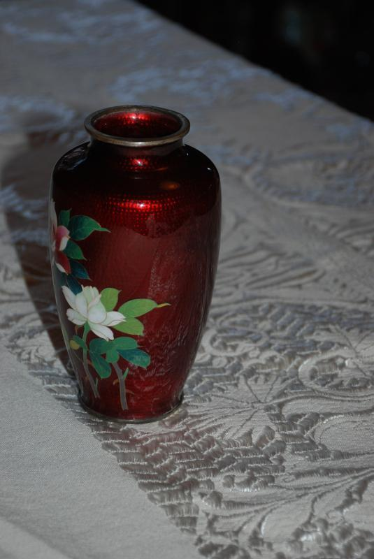 JAPANESE SATO CLOISONNÉ ENAMEL VASE PIGEON BLOOD RED WITH BAMBOO AND HAND PAINTED FLOWERS