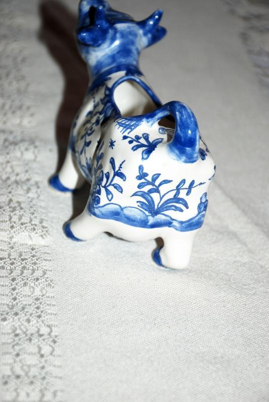 Blue White Hand Painted Ceramic Cow Creamer from Portugal Numbered and Signed