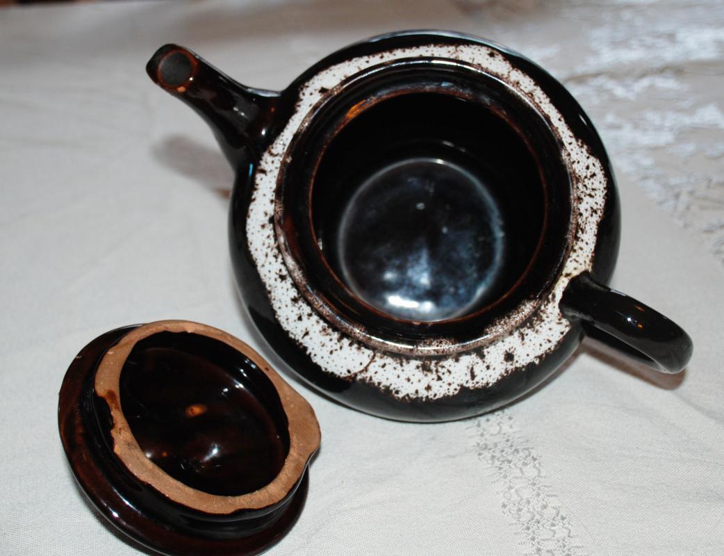 Vintage Hamilton  Royal Canadian Pottery  Two Tone Brown Glaze Tea Pot