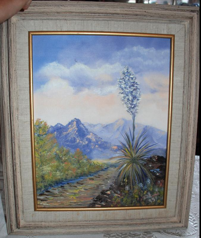 Century Plant Bloom , Agave, Mountain Landscape Original Oil Painting, Signed, Dated D. Pollard '93  / Arizona,  New Mexico Framed Canvas