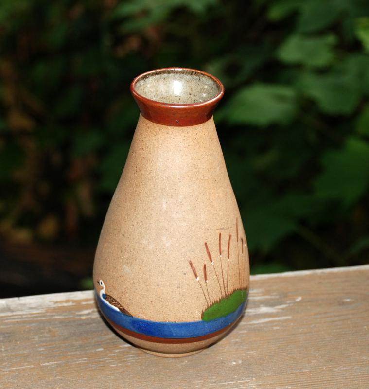 Perez Jalisco Tonala Mexico Pottery Vase with Duck & Cattails