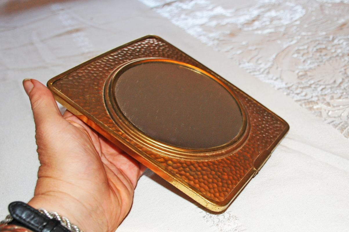 Hammered Brass Magnifying Vanity Table Top Make Up Mirror