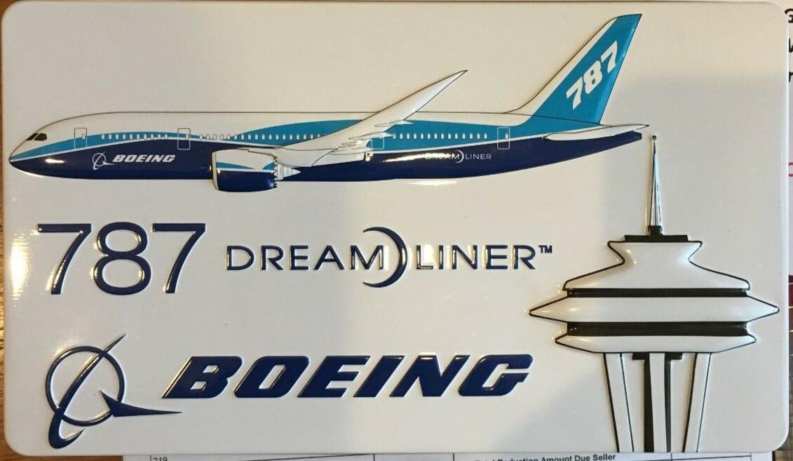 Boeing 787 Dreamliner Embossed  Advertising Tin