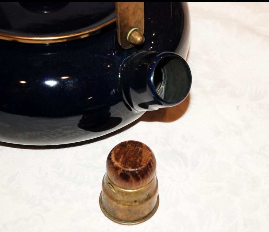 Cobalt Blue Enamel Whistling Tea Kettle with Wood Knob & Brass Handles