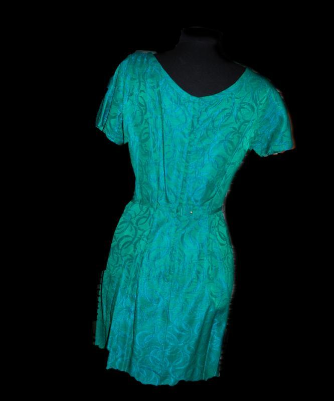 Vintage Teal Satin Brocade 2 pc Dress by Rona , Evening Dress with Jacket