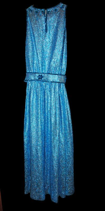 Vintage Aqua Blue Metallic Dress with Glass Stones Hand Crafted size 10