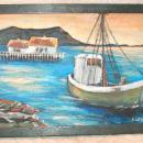 Fishing Boat, Sunset Harbor Original Painting on Board, Framed Signed Bakken