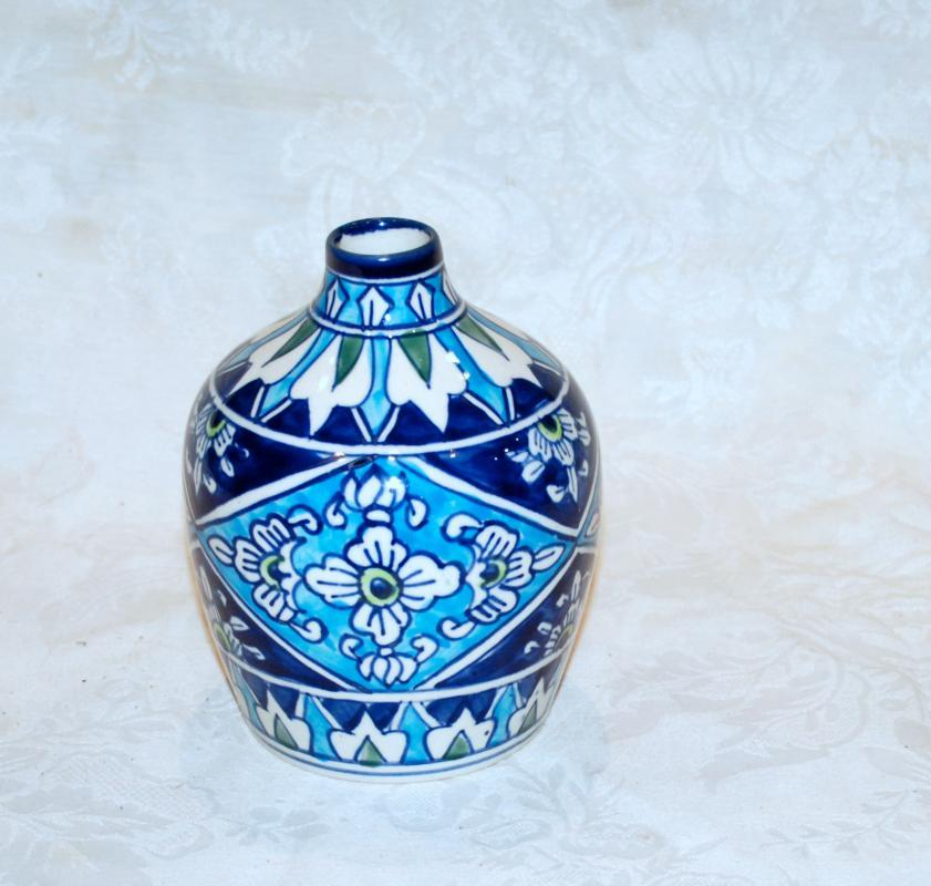 Middle Eastern Pottery, Porcelain Vase Blue,White with Geometric, Arrows and Flower Motifs Hand Crafted
