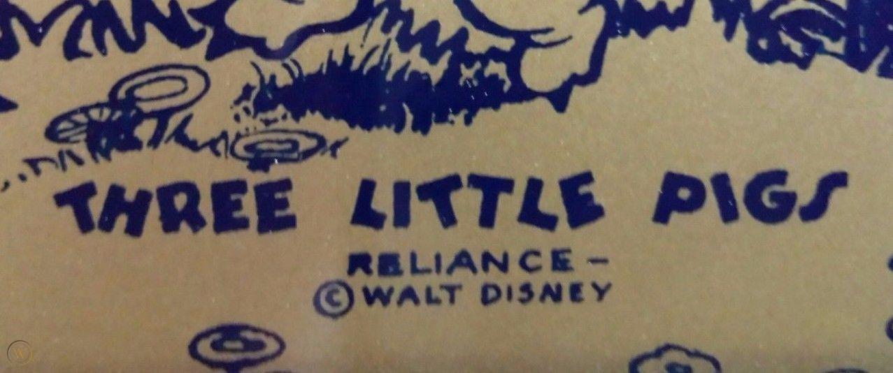 THREE LITTLE PIGS: D-110 WALT DISNEY ENAMEL ON GLASS; RELIANCE PICTURE FRAME CO