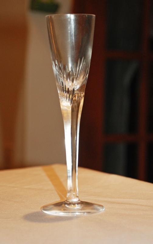 Atlantis Crystal Fluted Stemmed Cordial Glass with rectangular columnar Stem.