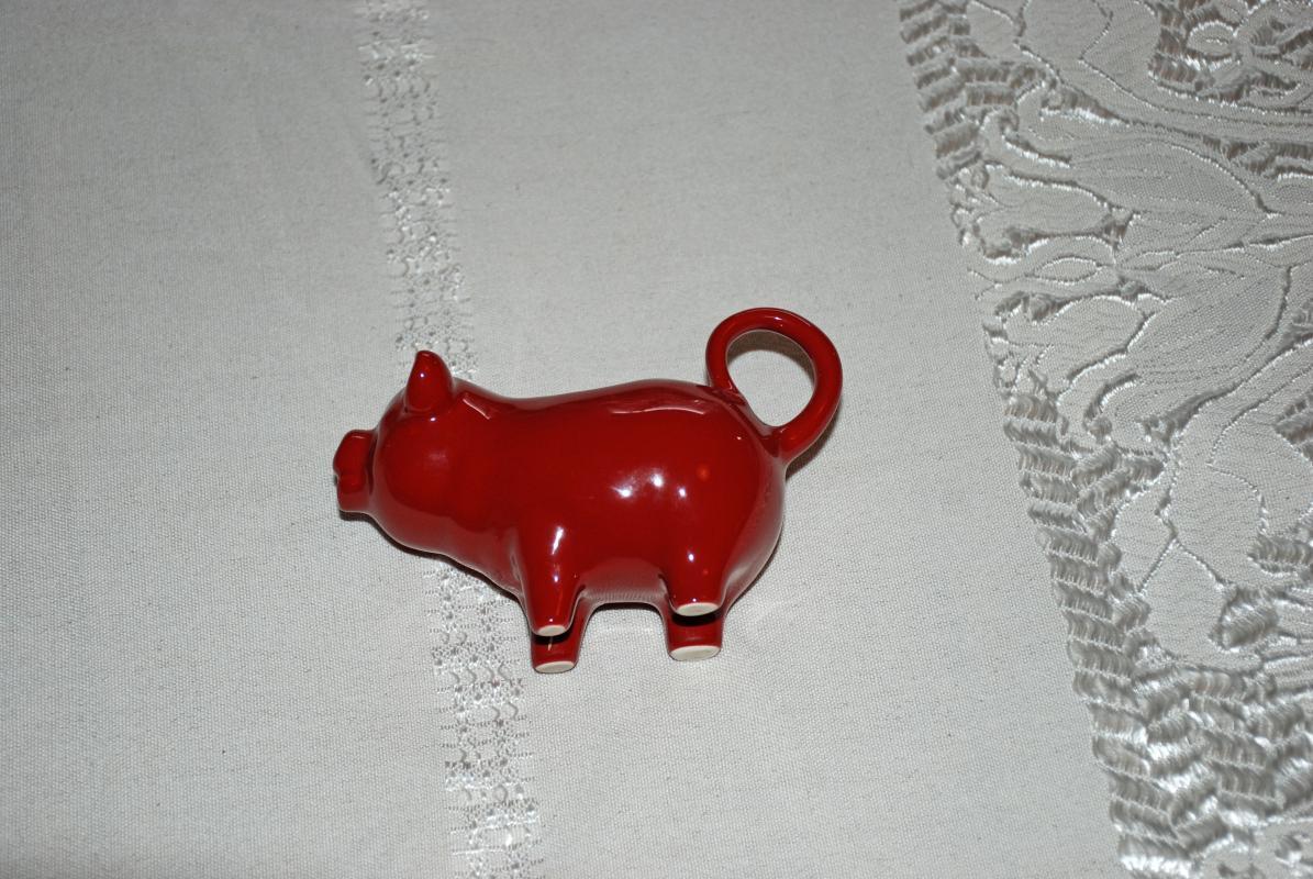 Little Red Piggy Pig Creamer ,   Ceramic  Porcelain