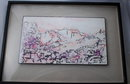 Abstract Painting of City, Waterway Mountain Signed  Tue dated 1961 * PRICE REDUCDED * !