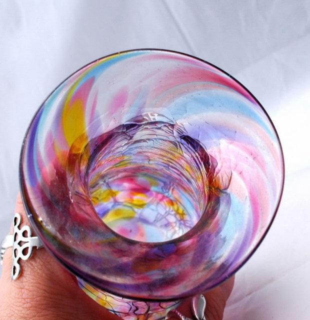 Art Glass Splatter Colors Vase Signed & Dated