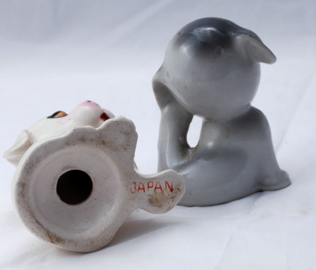 Puppy Dogs with flowers Salt  & Pepper Shakers -Vintage  Japan