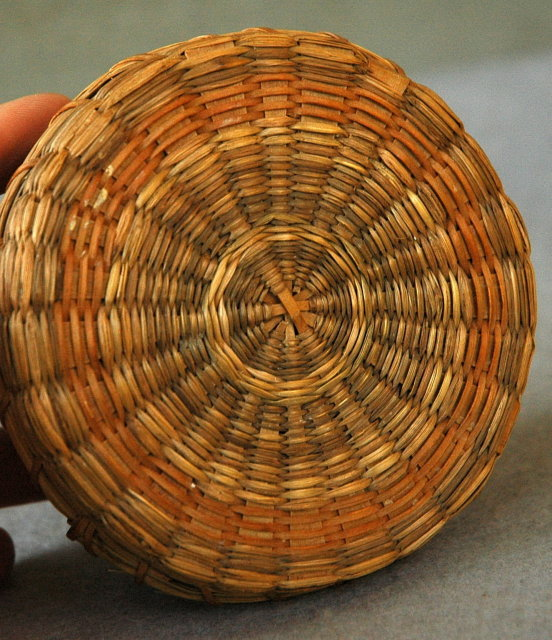 Native American Trinket  or Button Basket with Lid  from Main